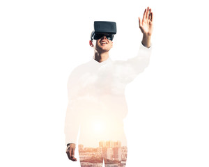 Guy wearing checked shirt and virtual mask stretching hand to to