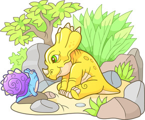 cute styracosaurus looking at snail