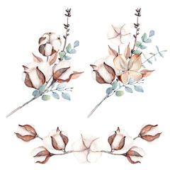 Watercolor cotton branch flower print decoration.