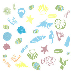 Colorfull sketch of shells, corals, sea stones on an isolated background.
