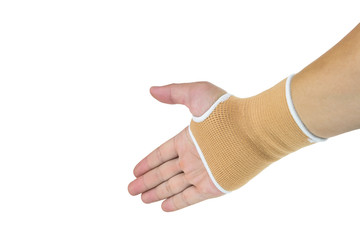 Brown cast on hand and arm