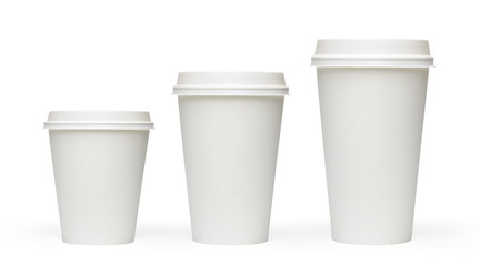 Blank white takeaway coffee cups of three sizes on white background