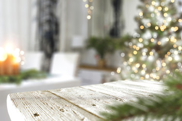 christmas wooden table and tree  Wall mural