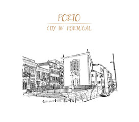 Hand Drawn sketch of People go along the street in the old city. Old houses make attractive skyline in downtown Porto, Portugal in vector illustration.