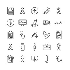Simple set of medical related outline icons.