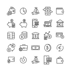 Set of premium money icons in line style.