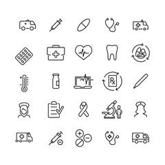 Premium set of healthcare line icons.