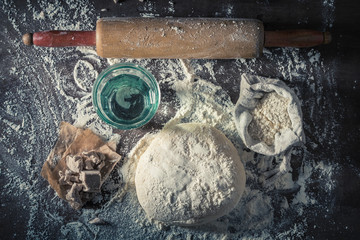 Preparation for baking tasty and homemade dough for pizza