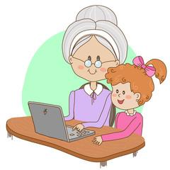 Внучка учит бабушку
