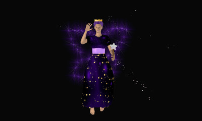 Lila fee mit Zauberstab und leuchtenden Flügeln auf schwarzem Hintergrund. Ansicht von vorne