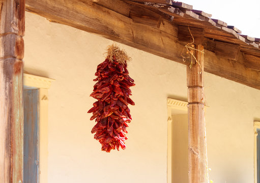 New Mexico Dry Red Chile Hanging on Beam