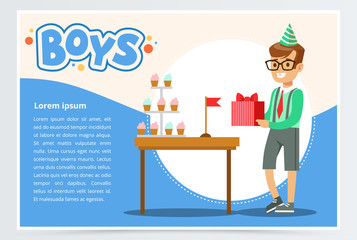 Happy boy holding gift box, cute kid celebrating his birthday, boys banner flat vector element for website or mobile app