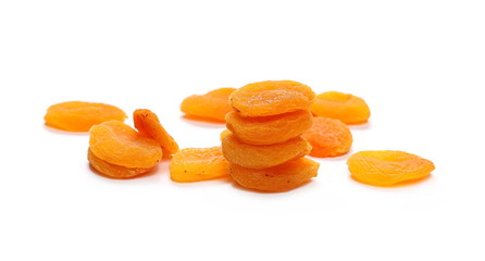 Dry apricots isolated on white background