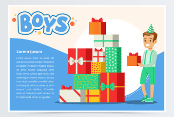 Happy boy and pile of colorful gift boxes, cute kid celebrating his birthday, boys banner flat vector element for website or mobile app