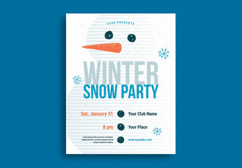 Snowman Winter Party Flyer