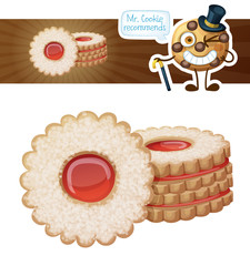 Berry linzer cookies. Cartoon vector illustration isolated on white background. Series of food and drink and ingredients for cooking