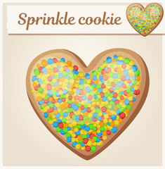 Colorful sprinkles heart cookie illustration. Cartoon vector icon. Series of food and drink and ingredients for cooking