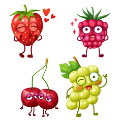Funny berry characters isolated on white background. Cheerful food emoji. Cartoon vector illustration: lovely strawberry, cute raspberry, best friends cherry, funny white grape