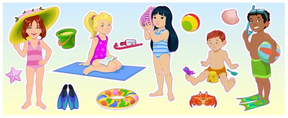 Cartoon children on the summer beach. Set of cute kids vector illustraton