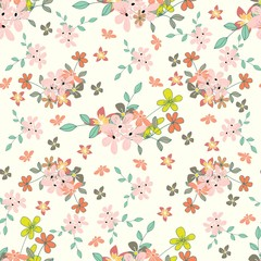 Seamless floral pattern. Floristic ornament for textiles, packaging, wallpaper. Vintage background with flowers. Vector ornament.