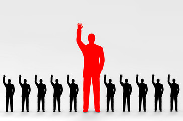 3d rendering. A Big Red Business man and black color flat people group hand ups to agree or voting with a leader.