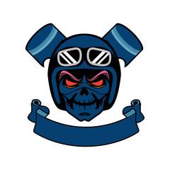 Skull ghodt rider road biker logo mascot design