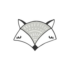 Cute hand drawn nursery poster with fox in scandinavian style. Monochrome vector illustration