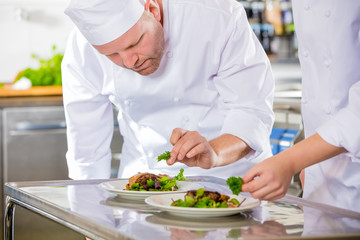 Two dedicated chefs prepares steak dish at gourmet restaurant