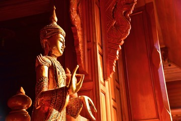 Antique Thai Buddha Statue in a Buddhist Temple