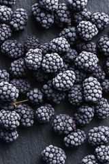Frozen blackberry on black slate. Top view. High resolution product.