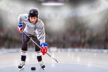 Junior Hockey Player Puck Handling in Fictitious Hockey Arena.