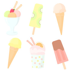 Vector set of color hand drawn sweets. Ice cream in waffle cones with different flavours, sundae scoop, yogurt pops, fruit ice