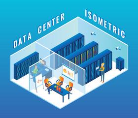 Data center cutaway interior vector flat isometric illustration
