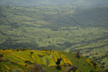 Ethiopian Countryside Landscape with Canyon in the Amhara Region