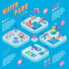 Water park vector isometric infographics