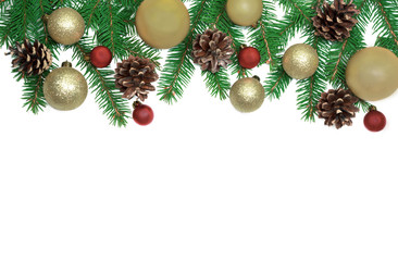 Christmas frame background from xmas tree and golden balls isolated on the white table and copy space for holiday text.