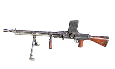 Old Machine Gun on white