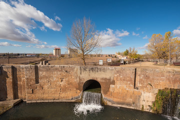 Canal de Castilla, famous Landmark in Fromista, Palencia, Castilla y Leon, Spain.