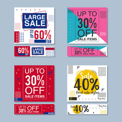 Set of colorful trendy sale banners vector illustration