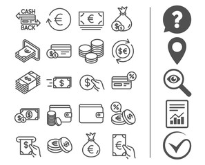Money line icons. Credit card, Cash and Coins.