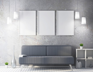 White frame mockup in modern interior, poster mock up 3d rendering