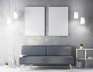 White frame mockup in modern interior, poster mock up 3d rendering