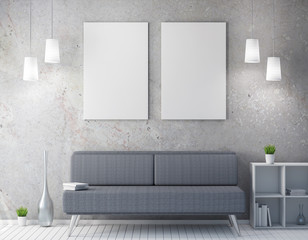Calendar  mockup in interior, poster in white room, modern eco design 3d rendering