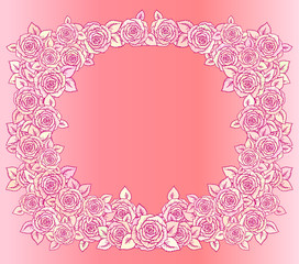 Beautiful pink and vintage yellow frame made of roses with little leaves decoration.Hand-drawn contour lines and strokes. Sketch engraving style flowers and leaves. Intricate romantic background