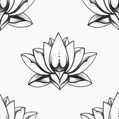 Seamless pattern of beautiful oriental lotus on a white background.