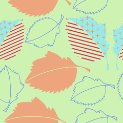 Leaves stylized  seamless pattern, fall. Hand drawn.