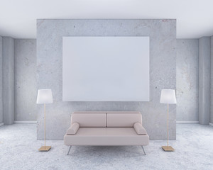 Luxary interior with blank poster mockup on wall 3d rendering