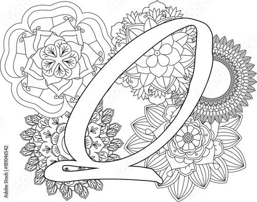 Mandala Q Monogramlogo Doodle Floral Letters Coloring Book For Adult