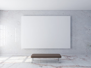 Blank poster mockup on wall 3d rendering