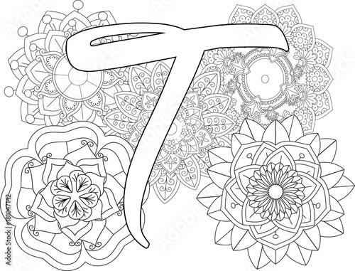 Mandala T Monogramlogo Doodle Floral Letters Coloring Book For Adult